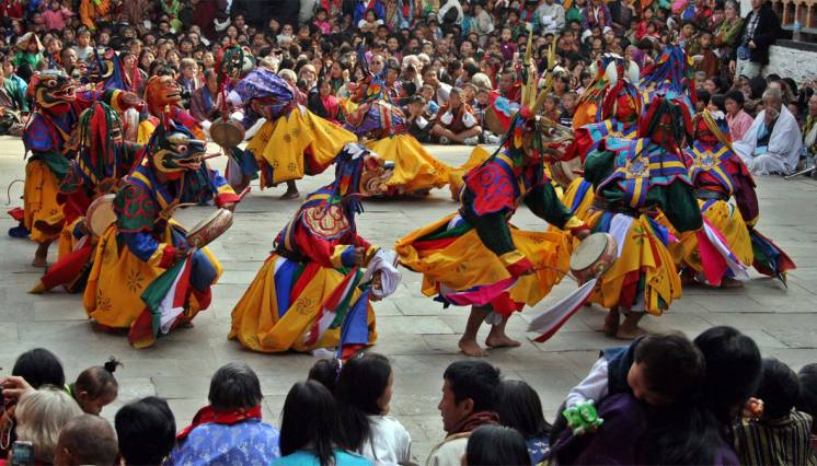 Mask Dance During Festival in Bhutan