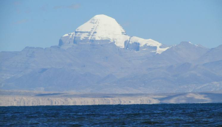 Mount Kailash and Manasarovar view from Manasarovar