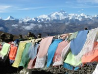 Decorative Prayer flags in high pass